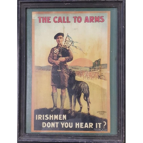 82 - '<em>The Call to Arms - Irish Men, Don't you Hear It</em>?' Recruitment Poster - 13.5 x 18.5ins...