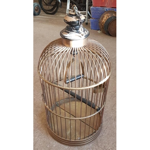 97 - Large Brass Bird Cage - 3ft tall...