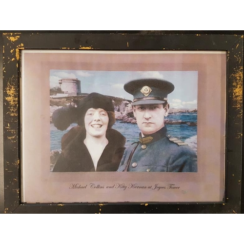 99 - Framed Picture of Michael Collins and Kitty Keirnan at Joyce's Tower - 18 x 14ins...
