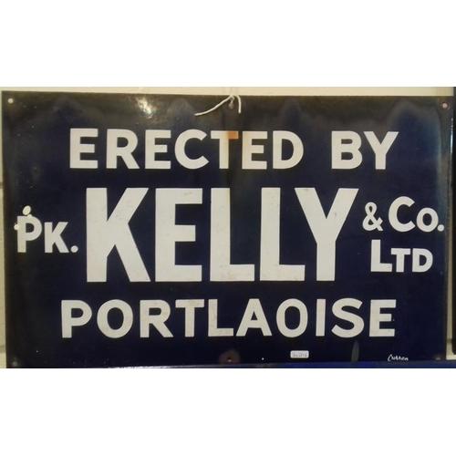100 - <em>'Erected by P. K. Co. Ltd., Portlaoise</em>' Enamel Sign - 24 x 15ins...