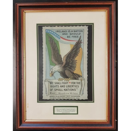103 - <em>'Ireland is a Nation and should be Free'</em> - Copy of a Republican Propaganda Label used in Ca...