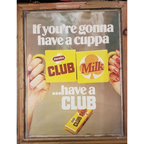 124 - Framed '<em>Jacobs Club Milk</em>' Advertising Sign - 23.5 x 29.5...