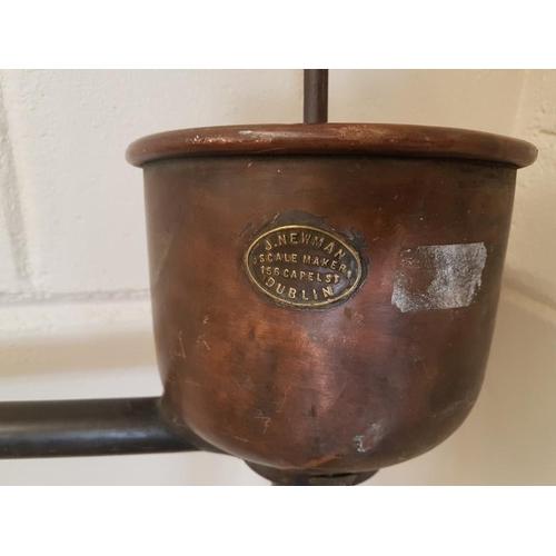 127 - Victorian Copper and Brass Barrel Pump with Maker's Label J. Newman, Dublin - c. 26ins wide 57ins Hi...