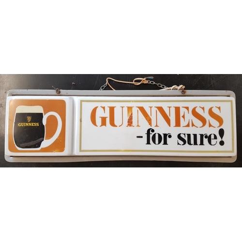 136 - Original 1960's <em>'Guinness for Sure</em>' Hanging Pub Light - 28 x 8.5ins...
