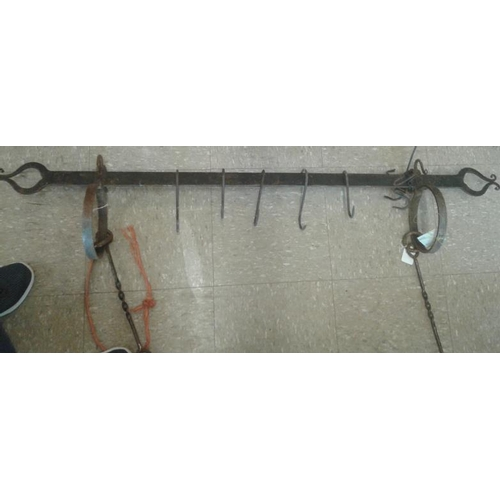 137 - Forge Made Metal Hanger with Hooks...