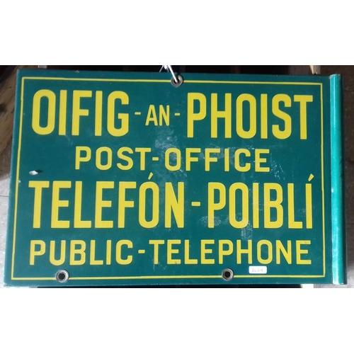 142 - <em>'Oifig an Phoist Public Telephone'</em> Double Sided Enamel Advertising Sign - 19 x 12ins...