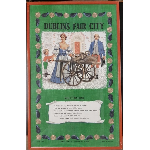 143 - Framed Printed Cloth - Dublin's Fair City/Molly Malone Verse - 13 x 30.5...