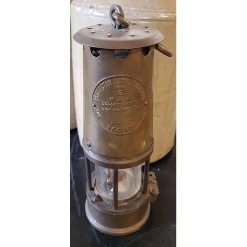 187 - <em>'Eccles Type 6</em>' Brass Miner's Lamp...