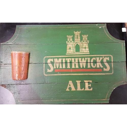 458 - Large Wooden <em>Smithwick's Ale</em> Advertising Sign - 36 x 22.5ins...