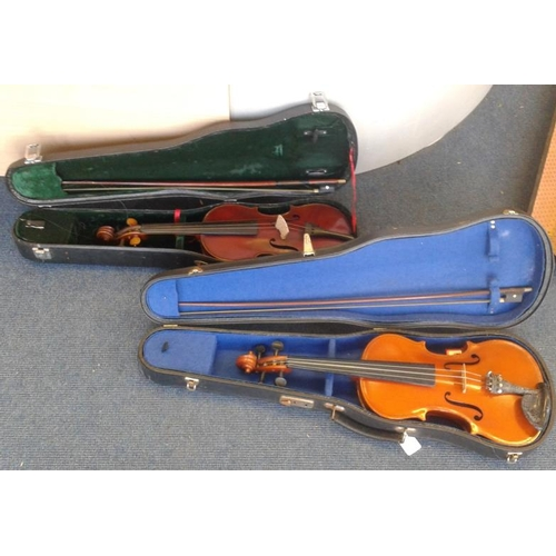 472 - Two Fiddles and Bows (with Cases)...