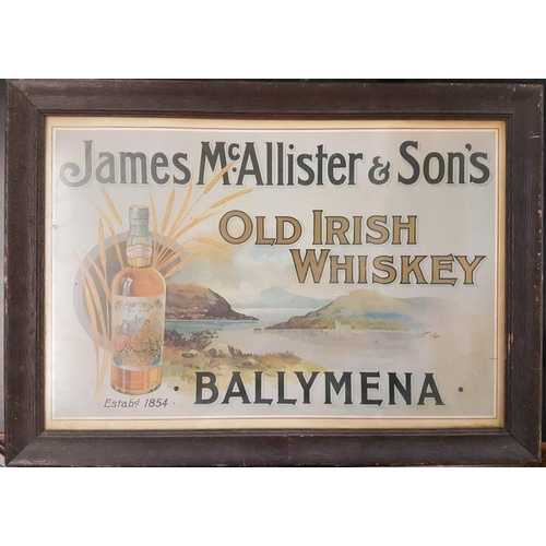 477 - <em>'James McAllister & Sons Old Irish Whiskey, Ballymena</em>' Framed Advertising Sign - Overal...