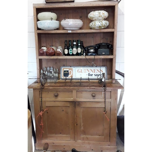 123 - Traditional Irish Farmhouse Dresser with open shelves above a base with a pair of drawers and cupboa...