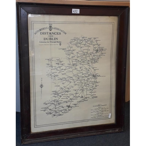 432 - Framed Automobile Association Map of Ireland with Distances from Dublin - 23 x 28ins...