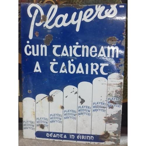 431 - <em>'Player's Cun Taintneam a tAbairt'</em> Enamel Advertising Sign - 24 x 33ins...