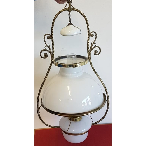 178a - Victorian Brass and Milk Glass Hanging Oil Lamp (electrified)...