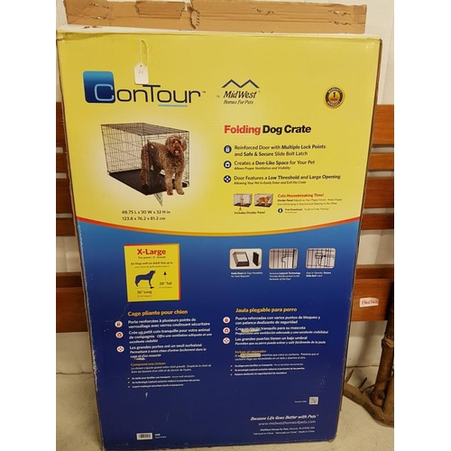 1 - Folding Dog Crate, extra-large, c. 28in tall, 36in long...