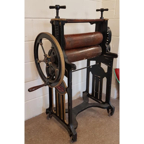 5 - Victorian Cast Iron Clothes Mangle - The Lion Model - 39 x 50ins...