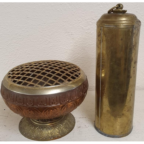 8 - Brass Hot Water Bottle and a Grave Flower Holder...