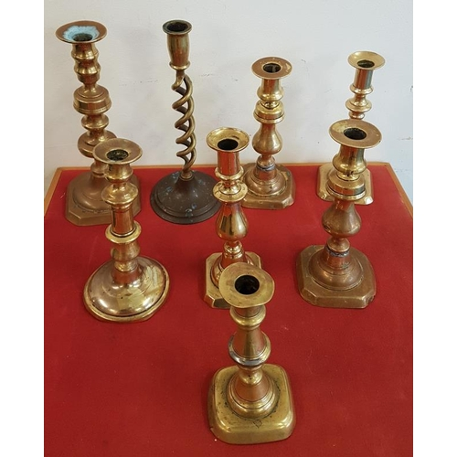 13 - Collection of Brass Candlesticks...