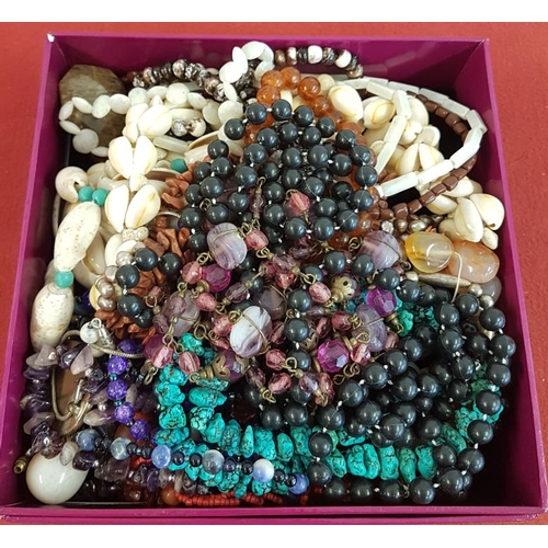 21 - Box of Mostly Natural Stone Costume Jewellery...