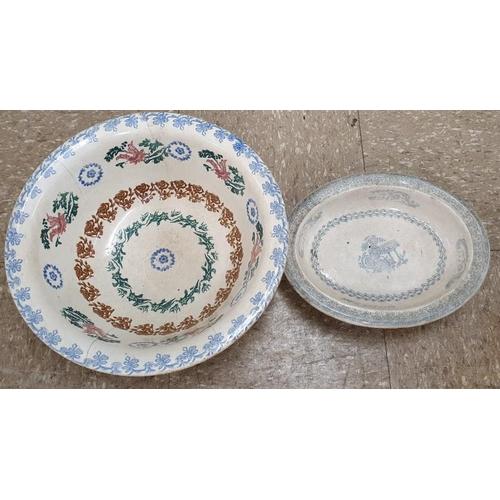 44 - Two Large Spongeware Bowls...