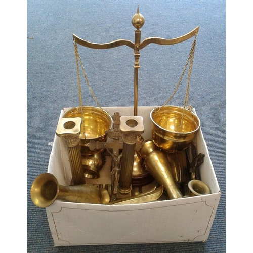 27 - Box of Various Brass Wares incl. Religious Interest...