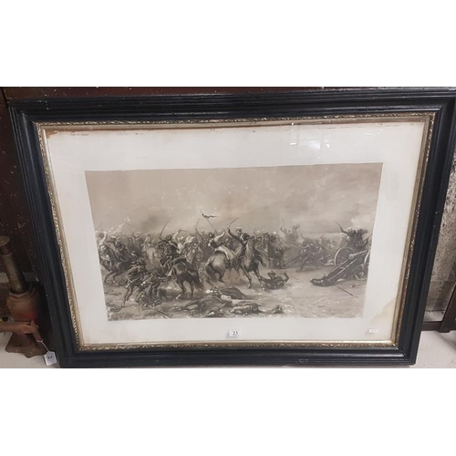 23 - Large Edwardian Black and White Military Battle Scene by E. Crofts 1893, c.43 x 31in...