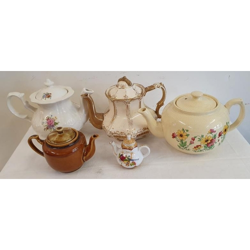 8 - Collection of Five Various Decorative Teapots...