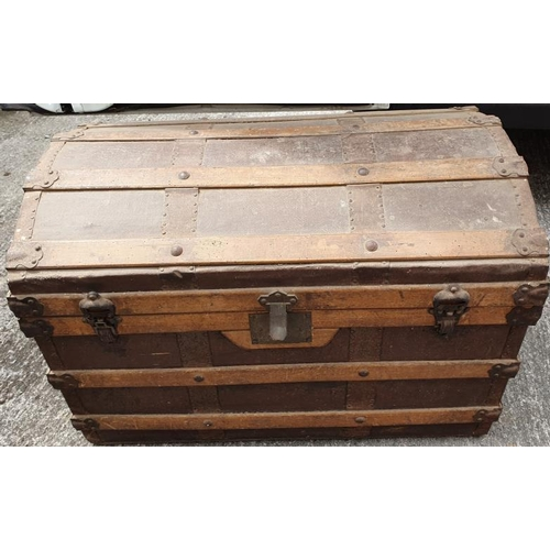 17 - Victorian Dome Top Cabin Trunk with wooden strapping...