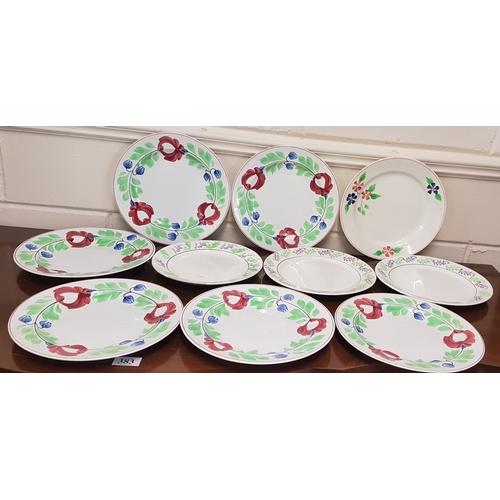 20 - Ten Dresser Spongeware Plates (4 Arklow)...