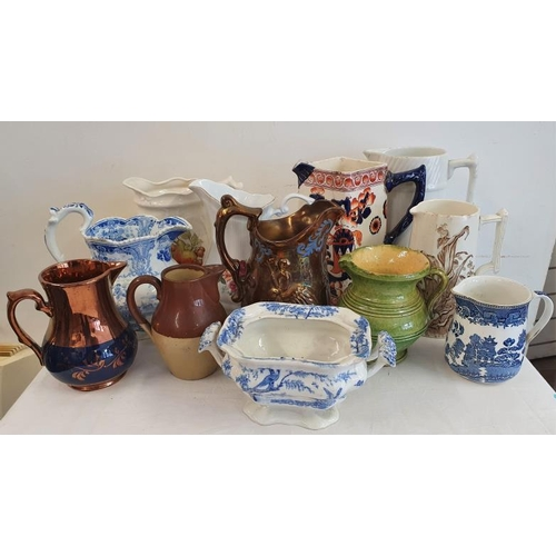 21 - Collection of Eleven Dresser Jugs, Victorian and later...