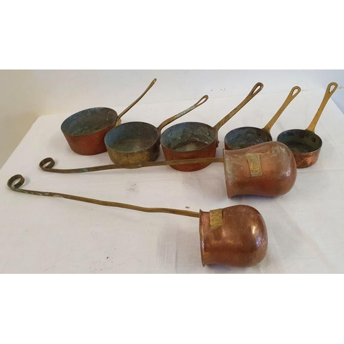 25 - Group of Small Copper Saucepans and Measures...