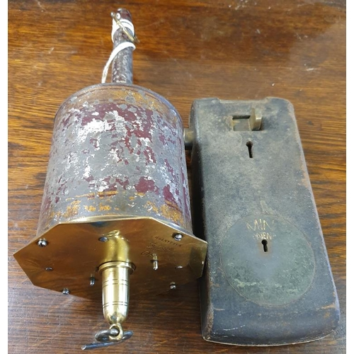 26 - Heavy Iron Penny Door Slot Lock and a Brass Meat Jack...