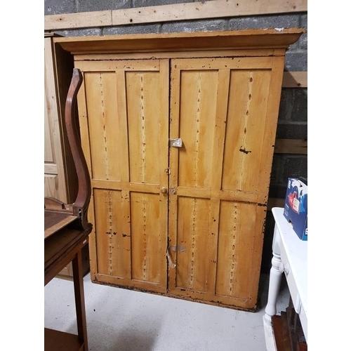 37 - Victorian Pine Two Door Wardrobe - 48 x 67.5ins...