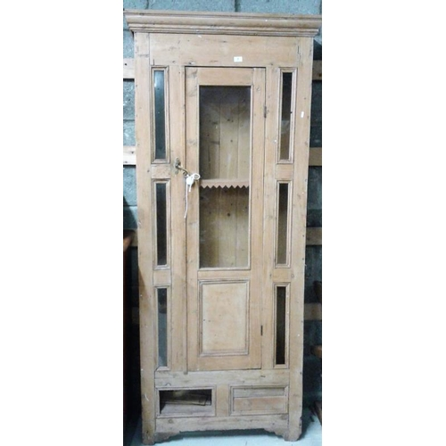40 - Victorian Pine Display Cabinet of slim design, c.34in wide, 85in tall, 10in deep along with Pine Fra...