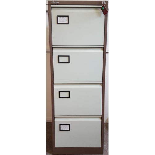 43 - Four Drawer Filing Cabinet with Key and Quantity of Hanging Files...