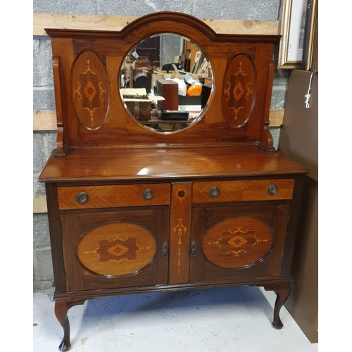 44 - Edwardian Inlaid and Mirror Back Sideboard, c.48 x 62in...