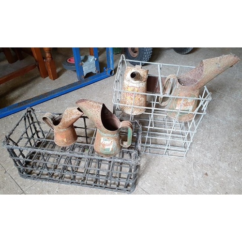 108 - Two Oil Bottle Crates and four motor oil pourers - Castrol and Shell...