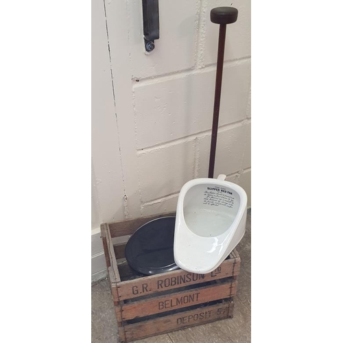 172 - G R Robinson Wooden Crate, a New Slipper Bed Pan and a Hat Stand...