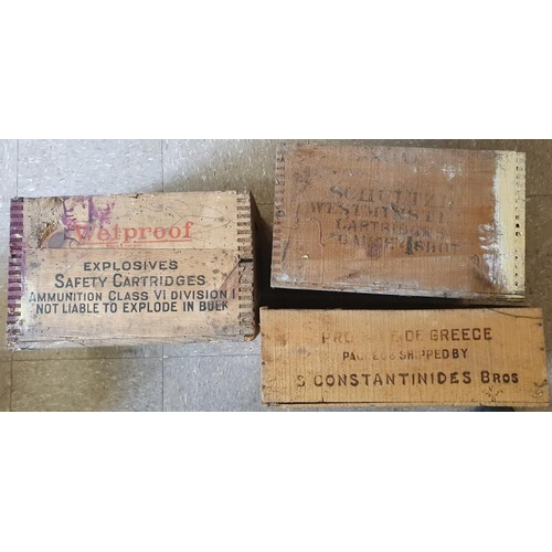 183 - Three Vintage Cartridge Wooden Packing Crates - Arrow, Schultz and Constantinides...