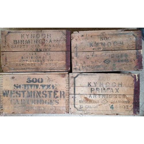 186 - Four Vintage Cartridge Wooden Packing Crates - 3 x Kynoch and a Schultz...