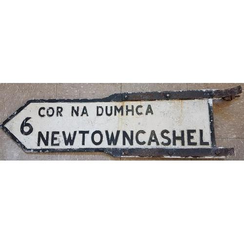 194 - Newtowncashel (Co Longford) Bi-Lingual Cast Metal Road Sign, c.40 x 11in...