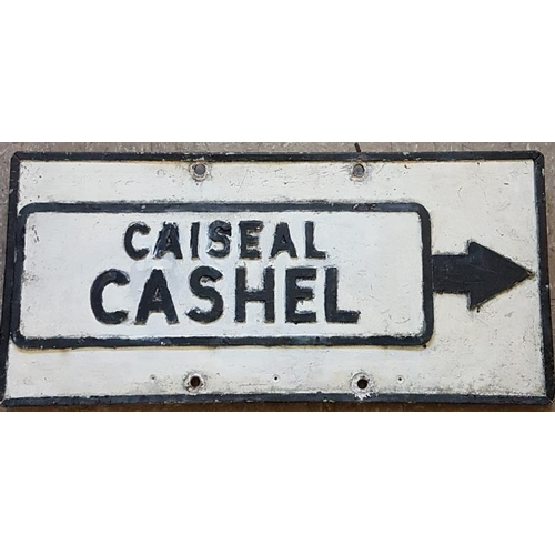 197 - Cashel Bi-Lingual Cast Metal Road Sign, c.30 x 14in...