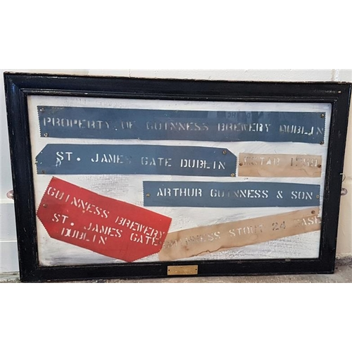 204 - Framed Collection of Original Guinness Barrel Stencils, c.32.5 x 20.5in...
