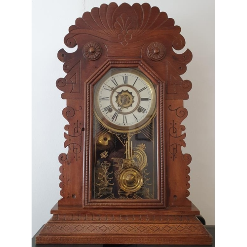 428 - Very Good Example of a Gingerbread Mantle/Wall Clock with alarm mechanism, by the Waterbury Clock Co...
