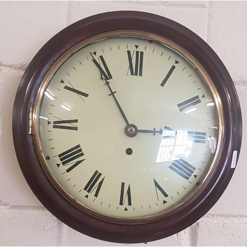 431 - Victorian Circular Wall Clock with Fusee Movement with Key and Pendulum (working)...