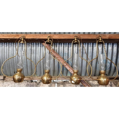 13 - Set of Four Matching Brass Hanging Oil Lamps with chimneys...
