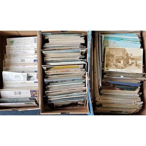 30 - Postcards. 3 boxes of modern postcards, postally used, mostly Irish, some general. Huge selection wi...