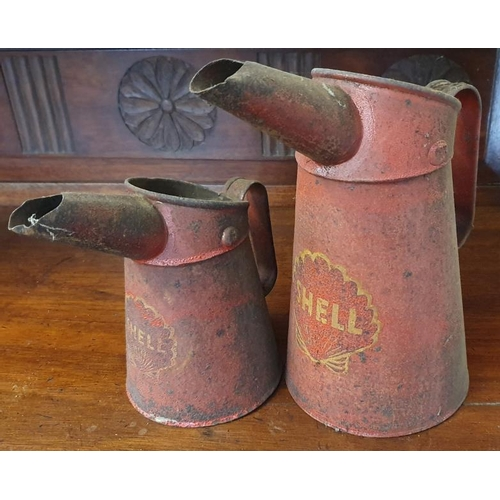 108A - Graduated Pair of Shell Oil Pourers in original red paint...