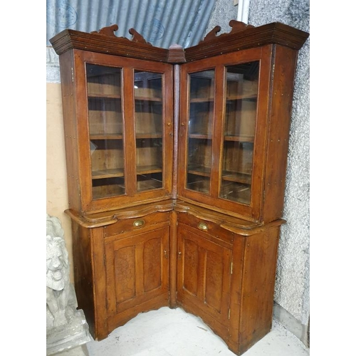 5 - 19th Century Pitch Pine Corner Display Cabinet with a pair of glazed doors over a base with a pair o...